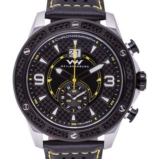 Weil and Harburg Men's Murdoch Swiss Racing Chronograph Watch with Carbon Fiber Inlays, and Perforated Leather Strap
