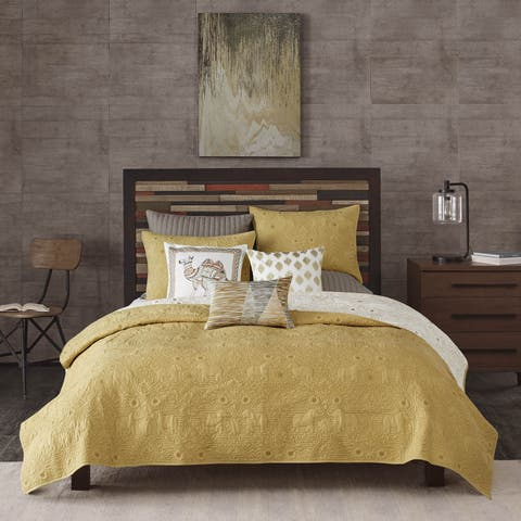 INK+IVY Kandula Cotton Yellow Reversible 3-piece Coverlet Set