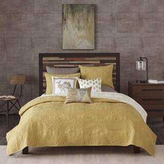 INK+IVY Kandula Cotton Yellow Reversible 3-piece Coverlet Set