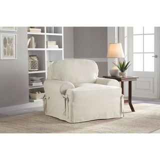 Tailor Fit Relaxed Fit Cotton Duck T-cushion Chair Slipcover in Natural (As Is Item)