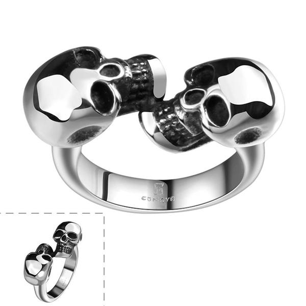 Vienna Jewelry Double Stainless Steel Skull Ring