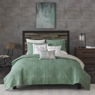 INK+IVY Kandula Cotton Seafoam Reversible Coverlet Mini Set