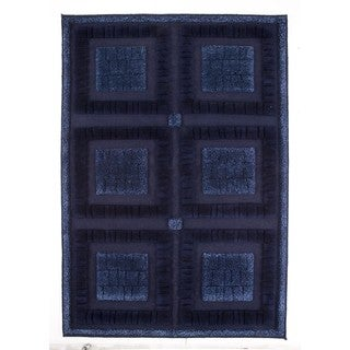M.A.Trading Indian Hand-knotted Bergamo Blue Rug (4'6 x 6'6)