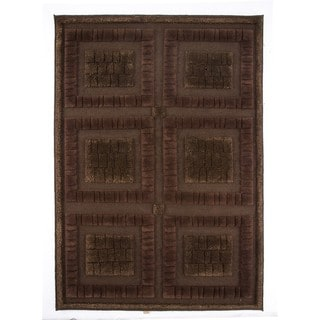 M.A.Trading Indian Hand-knotted Bergamo Chocolate Rug (5'6 x 7'10)