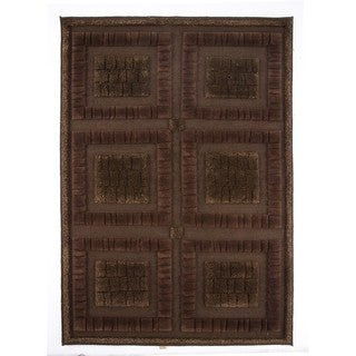 M.A.Trading Indian Hand-knotted Bergamo Chocolate Rug (4'6 x 6'6)