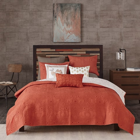 The Curated Nomad Ambrose Coral Reversible Cotton 3-piece Coverlet Set
