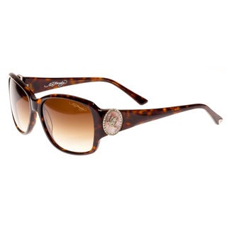 Ed Hardy Soaring Butterflies Dark Horn Brown Gradient 56 16 130 Sunglasses