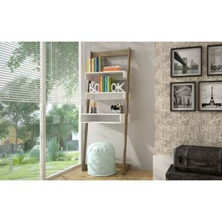 Accentuations by Manhattan Comfort Urbane Carpina Ladder Desk with 2 Floating Shelves and 1-Tabletop and Cubby