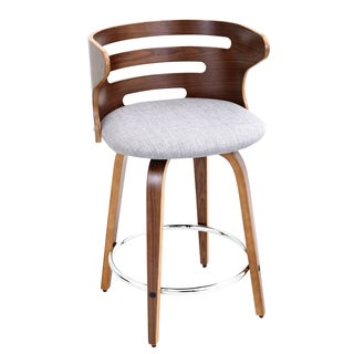 Cosini Walnut Wood Mid Century Modern 24-inch Swivel Bar Stool