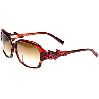 Ed Hardy Rose with Thorns Burgundy Horn Brown Gradient 57 15 135 Sunglasses