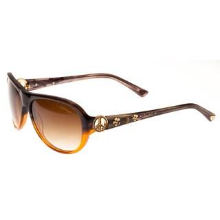 Ed Hardy Peace Grey Brown Brown Gradient 58 15 128 Sunglasses
