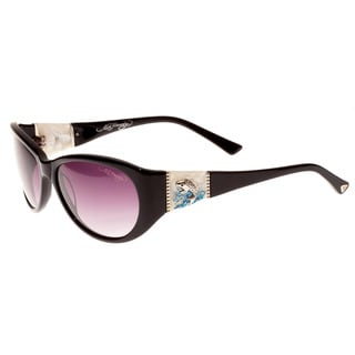 Ed Hardy Jumping Koi Black Purple Gradient 58 16 130 Sunglasses