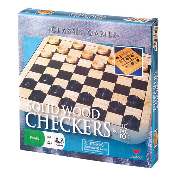 Solid Wood Checkers and Tic Tac Toe