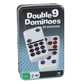 Plastic Double 9 Color Dot Dominoes in a Tin