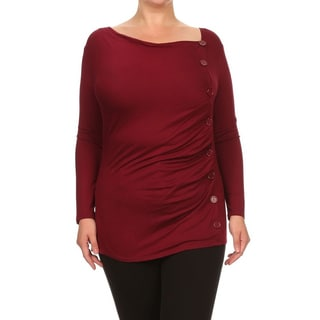 MOA Collection Plus Women's Button Trim Top