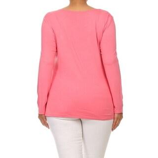 MOA Collection Plus Women's Button Trim Top