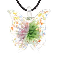 Bleek2Sheek Murano-Inspired Glass Bloom Butterfly Pendant Necklace