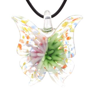Bleek2Sheek Murano-Inspired Glass Bloom Butterfly Pendant Necklace