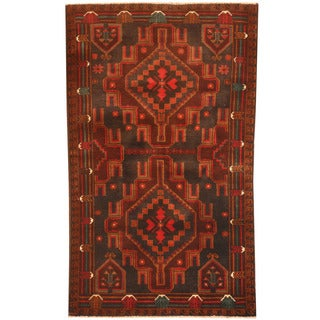 Herat Oriental Afghan Hand-knotted 1960s Semi-antique Tribal Balouchi Black/ Red Wool Rug (3' x 5')