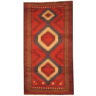 Herat Oriental Afghan Hand-knotted 1960s Semi-antique Tribal Balouchi Red/ Tan Wool Rug (2'9 x 5')