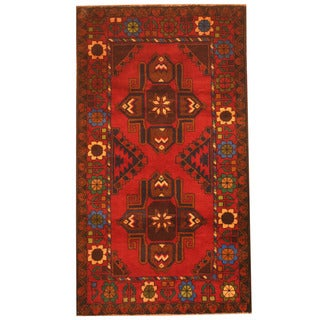 Herat Oriental Afghan Hand-knotted 1980s Semi-antique Tribal Balouchi Red/ Brown Wool Rug (2'8 x 4'9)