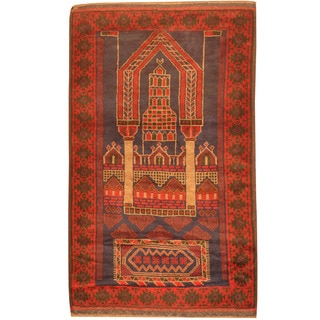 Herat Oriental Afghan Hand-knotted 1970s Semi-antique Tribal Balouchi Navy/ Red Wool Rug (3' x 5')