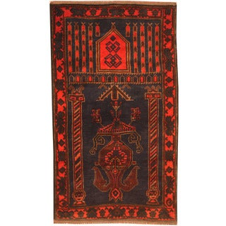 Herat Oriental Afghan Hand-knotted 1970s Semi-antique Tribal Balouchi Navy/ Red Wool Rug (2'7 x 4'7)
