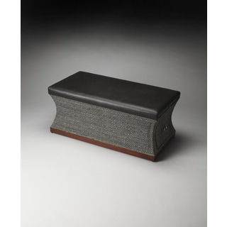 Black Wood/ Leather Storage Bench
