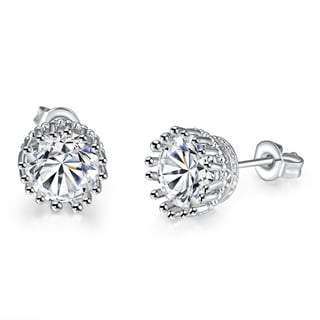 Vienna Jewelry 18K White Gold Plated Classic Studs