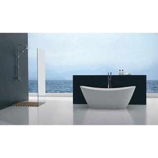 "Eviva Bella 67"" White Free Standing Strengthen Acrylic Bathtub"