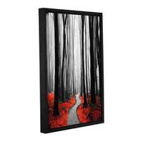 ArtWall Niel Hemsley's Red Leafs IV Gallery Wrapped Floater-framed Canvas