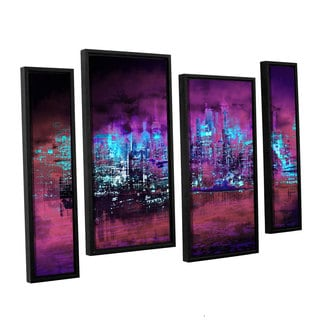 ArtWall Niel Hemsley's Neon City II 4-piece Floater Framed Canvas Staggered Set