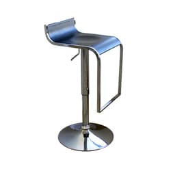 "Modern Silver Metal 21-30"" Adjustable Bar Stool by Baxton Studio"