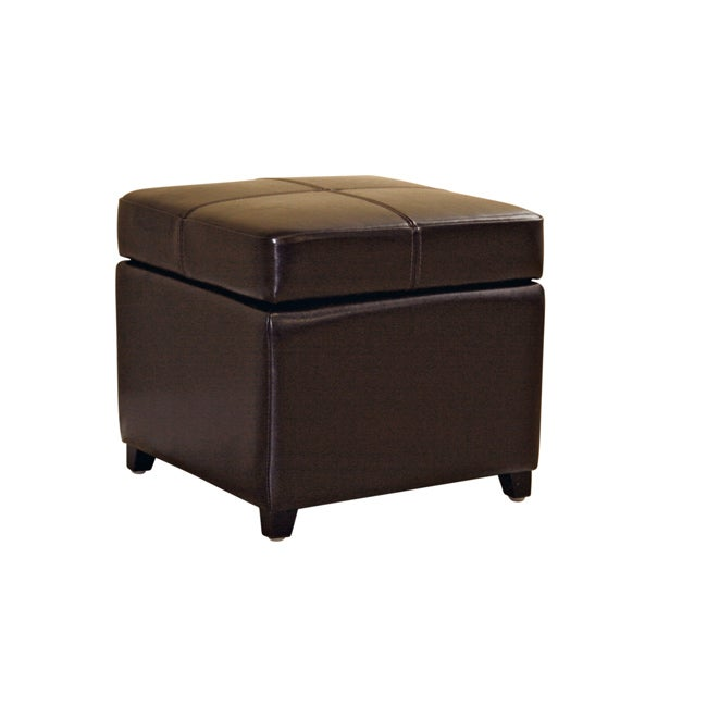 Brown Bi-cast Leather Storage Ottoman