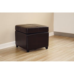 Brown Bi-cast Leather Storage Ottoman - Thumbnail 1