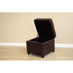 Brown Bi-cast Leather Storage Ottoman - Thumbnail 2
