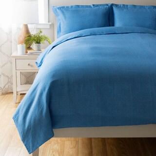 Blue Houndstooth Duvet Cover Set