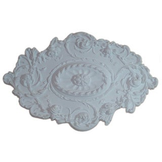 30 Inch White Oval Floral Ceiling Medallion