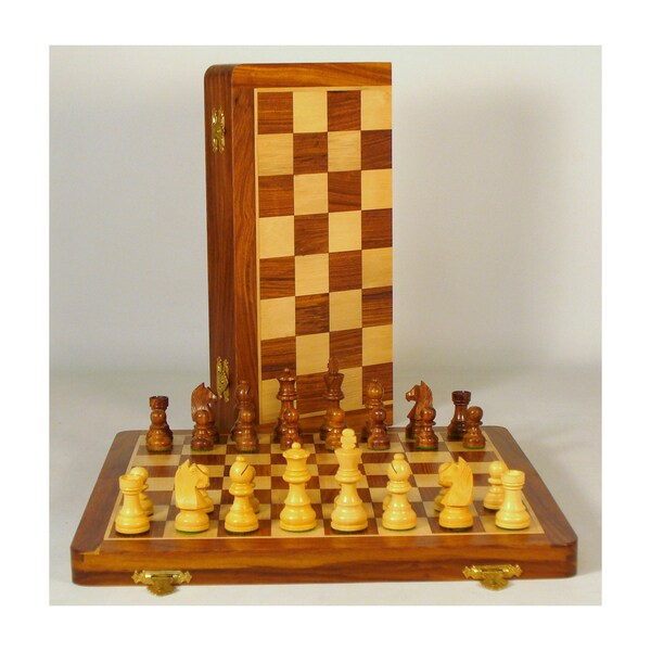 14-inch Sheesham and Maple Folding Chess Set