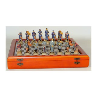 325-inch Civil War Generals Painted Resin Men Chess Set with Cherry Stained Chest Board