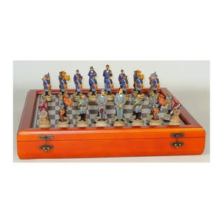 325-inch Civil War Generals Painted Resin Men Chess Set with Cherry Stained Chest Board|https://ak1.ostkcdn.com/images/products/11497768/P18450097.jpg?impolicy=medium