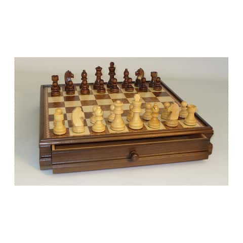 15-inch Walnut and Maple Drawer Chest Chess Set
