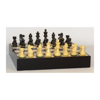 3-inch Black French Chess Set on Maple Veneer Chest