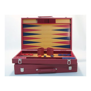 20-inch Burgundy and Blue Wood Tournament Attache Backgammon