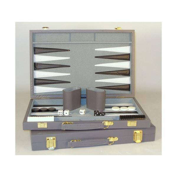 18-inch Grey Vinyl Backgammon Set