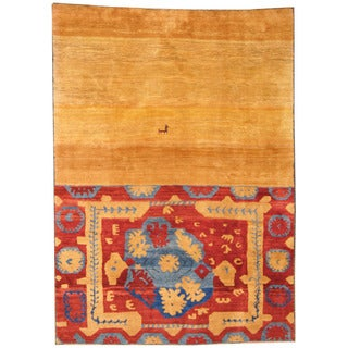 Herat Oriental Persian Hand-knotted Tribal Gabbeh Gold/ Rust Wool Rug (6'10 x 9'5)