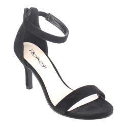 Women's Beston Barbar-01 Ankle Strap Sandal Black Faux Suede