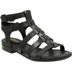 Women's Clarks Viveca Myth Strappy Sandal Black Full Grain Leather