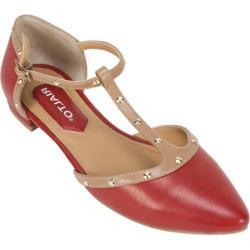 Women's Rialto Alexia T-Strap Flat Red Multi Smooth Polyurethane