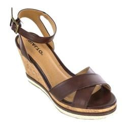 Women's Rialto Rosalynn Wedge Sandal Brown Burnished Smooth Polyurethane